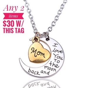 Jewelry - Sale 2/$30 Gold & Silver Heart & Moon Mom Necklace